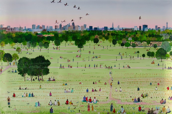 <div class=&#34;artist&#34;><strong>Emma Haworth</strong></div><div class=&#34;title&#34;><em>Primrose Hill at Dusk</em>, 2016</div><div class=&#34;signed_and_dated&#34;>Regent's Park watercolour series</div><div class=&#34;medium&#34;>watercolour on paper</div><div class=&#34;dimensions&#34;>105 x 75 cm</div>