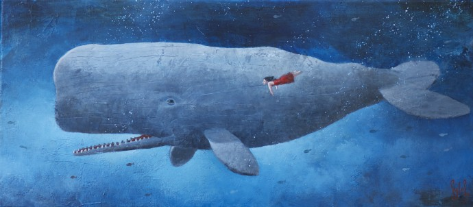 Sylvain Lefebvre, The red dress girl with the grey whale, 2020