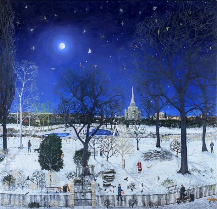 <span class=&#34;title_and_year&#34;><em>Moonlit Park Snow</em>, 2015<span class=&#34;title_and_year_comma&#34;>, </span></span><span class=&#34;medium&#34;>oil on linen<span class=&#34;medium_comma&#34;>, </span></span><span class=&#34;dimensions&#34;>120 x 120 cm<br/>47 1/4 x 47 1/4 in</span>