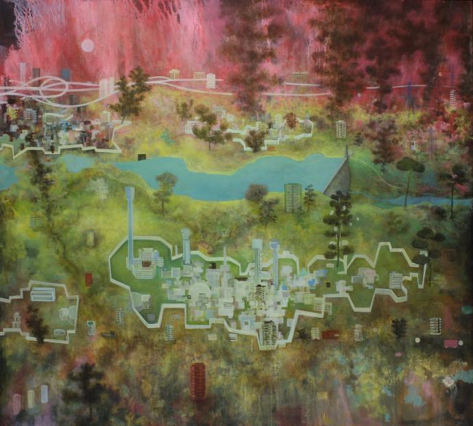 <div class=&#34;artist&#34;><strong>Alasdair Wallace</strong></div><div class=&#34;title&#34;><em>Walled Cities</em>, 2016</div><div class=&#34;medium&#34;>acrylic on canvas</div><div class=&#34;dimensions&#34;>125 x 138 cm<br>49 1/4 x 54 3/8 in</div>