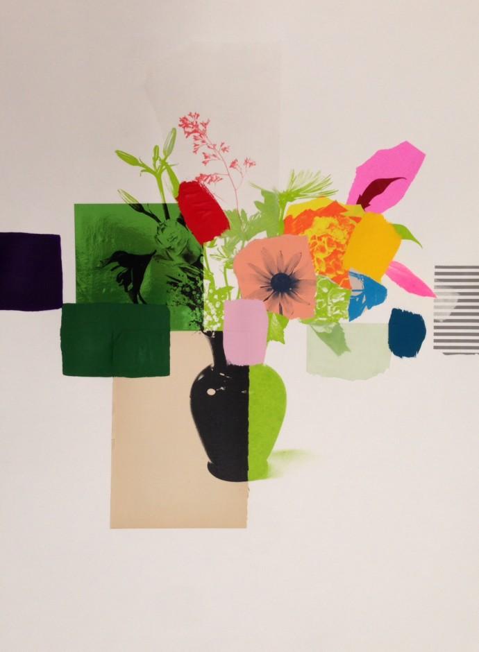 Emily Filler, Paper Bouquet (black + green vase), 2017