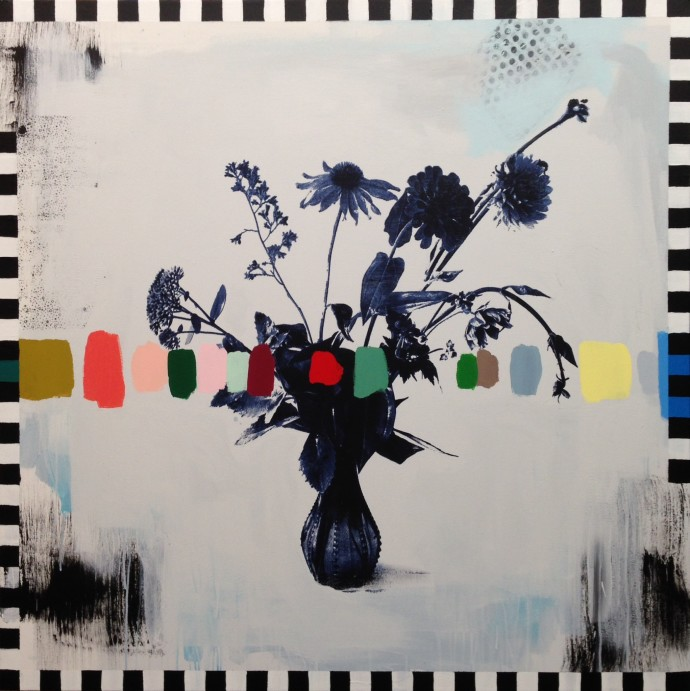 Emily Filler, Vintage Bouquet (with checkers), 2016