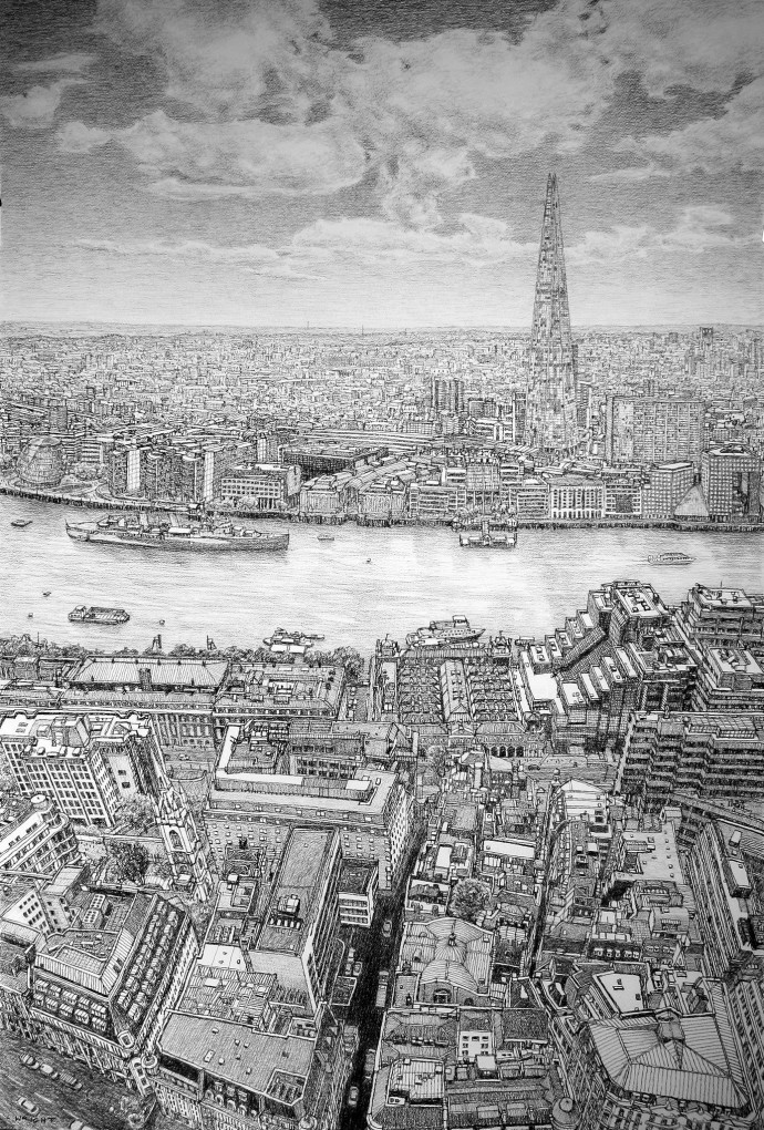 <div class=&#34;artist&#34;><strong>Roy Wright</strong></div><div class=&#34;title&#34;><em>The Shard & Thames From The Sky Garden</em>, 2016</div><div class=&#34;medium&#34;>charcoal on paper</div><div class=&#34;dimensions&#34;>161 x 115 cm<br>63 3/8 x 45 1/4 in</div>