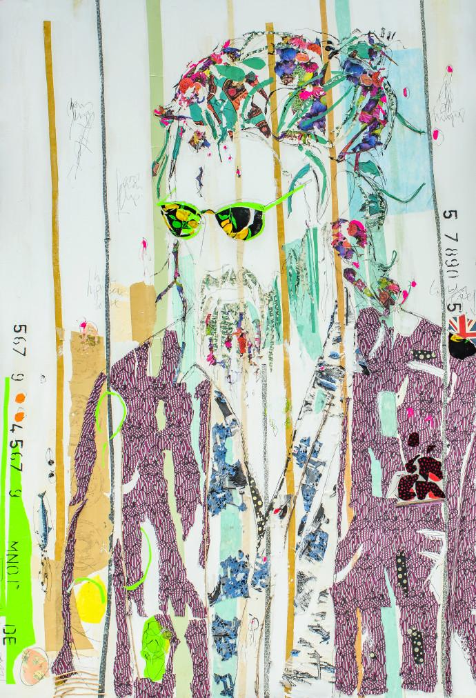 <div class=&#34;artist&#34;><strong>Mersuka Dopazo and Teresa Calder&#243;n</strong></div><div class=&#34;title&#34;><em>M&#225;s y Mejor</em>, 2017</div><div class=&#34;medium&#34;>paper, fabric and pigment on canvas</div><div class=&#34;dimensions&#34;>210 x 145 cm<br>82 5/8 x 57 1/8 in</div>
