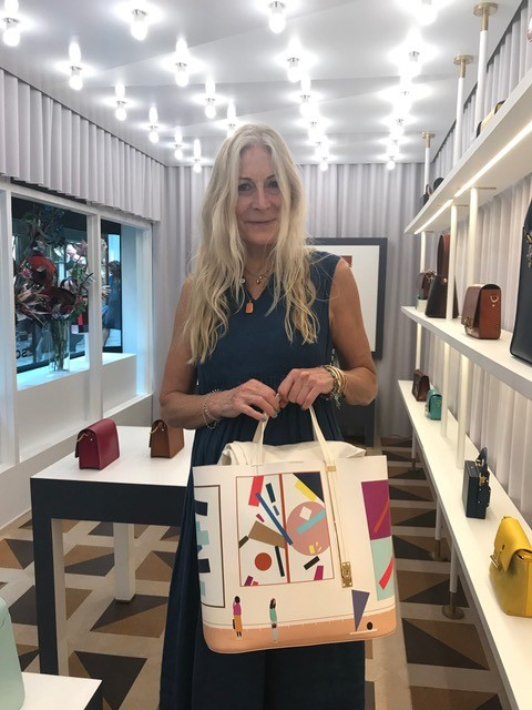 Rose Blake, Rebecca Hossack with Rose Blake's Handbag Design for Sophie Hulme