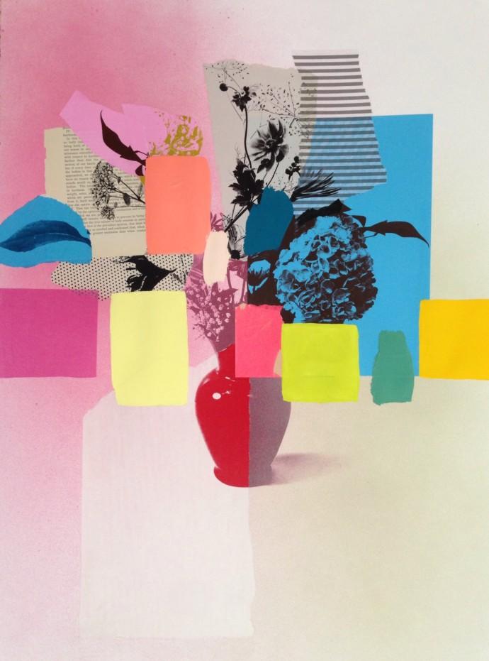 Emily Filler, Paper Bouquet (blue + pink) , 2017
