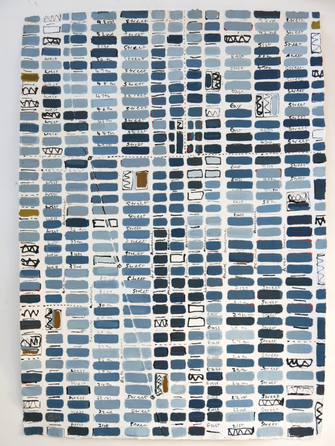 <span class=&#34;title_and_year&#34;><em>Midtown Blue</em>, 2015<span class=&#34;title_and_year_comma&#34;>, </span></span><span class=&#34;medium&#34;>oil and ink on Handmade paper<span class=&#34;medium_comma&#34;>, </span></span><span class=&#34;dimensions&#34;>138 x 98 cm</span>
