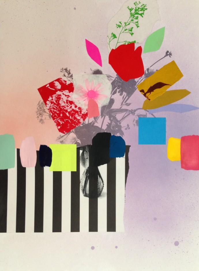 Emily Filler, Paper Bouquet (stripes + post-its), 2017