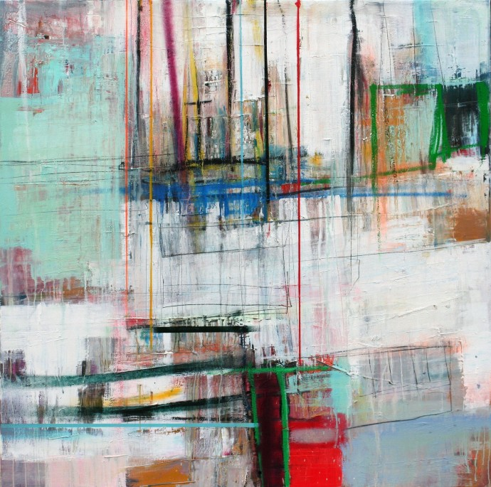 <span class=&#34;title_and_year&#34;><em>Interference D</em>, 2016<span class=&#34;title_and_year_comma&#34;>, </span></span><span class=&#34;medium&#34;>oil and spray on linen<span class=&#34;medium_comma&#34;>, </span></span><span class=&#34;dimensions&#34;>120 x 120 cm<br/>47 1/4 x 47 1/4 in</span>