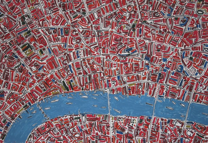 <div class=&#34;artist&#34;><strong>Barbara Macfarlane</strong></div><div class=&#34;title&#34;><em>Red And Green London</em>, 2015</div><div class=&#34;medium&#34;>oil and ink on handmade paper</div><div class=&#34;dimensions&#34;>110 x 150 cm<br>43 1/4 x 59 1/8 in</div>
