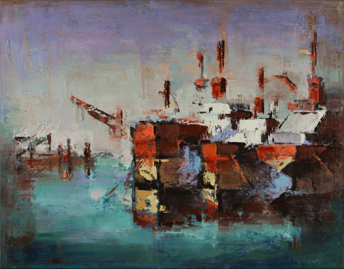 <div class=&#34;artist&#34;><strong>Tilemachos Kyriazatis</strong></div><div class=&#34;title&#34;><em>Ships at Harbour</em>, 2017</div><div class=&#34;medium&#34;>oil on canvas</div><div class=&#34;dimensions&#34;>70 x 90 cm<br>27 1/2 x 35 3/8 in</div>