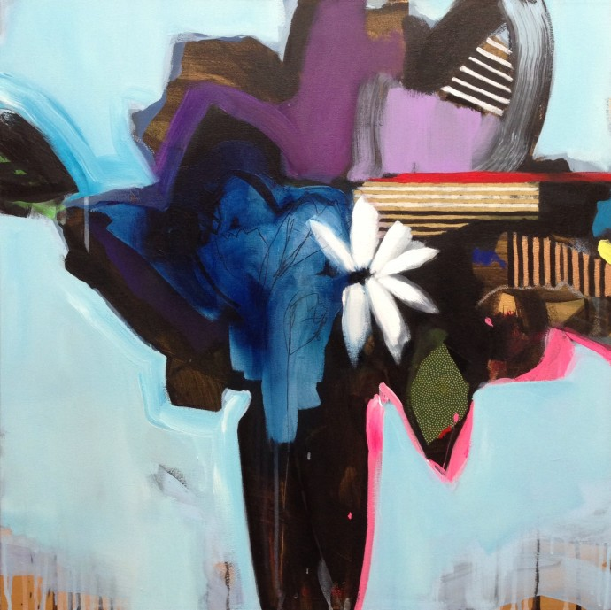 Emily Filler, Vase Of Flowers (Light Blue), 2014