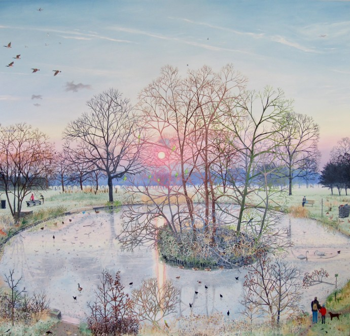 <span class=&#34;title_and_year&#34;><em>Sunset Over Frozen Pond</em>, 2017<span class=&#34;title_and_year_comma&#34;>, </span></span><span class=&#34;medium&#34;>oil on linen<span class=&#34;medium_comma&#34;>, </span></span><span class=&#34;dimensions&#34;>150 x 160 cm<br/> 59 1/8 x 63 in</span>