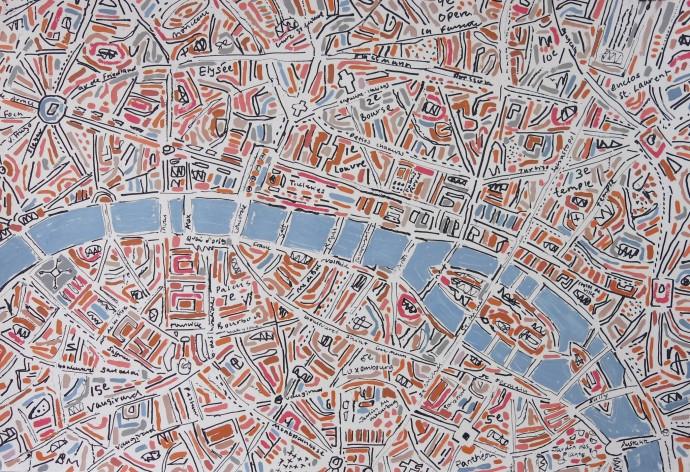 <div class=&#34;artist&#34;><strong>Barbara Macfarlane</strong></div><div class=&#34;title&#34;><em>Peach Paris</em>, 2015</div><div class=&#34;medium&#34;>ink and oil on hand-made paper</div><div class=&#34;dimensions&#34;>107 x 147 cm<br>42 1/8 x 57 7/8 in</div>