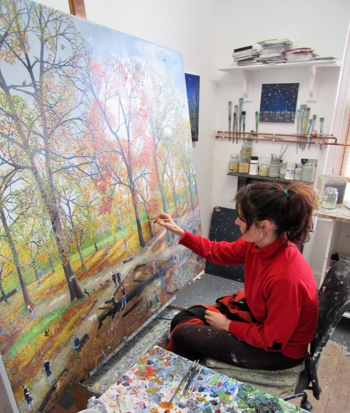 Emma Haworth, Emma painting in her studio