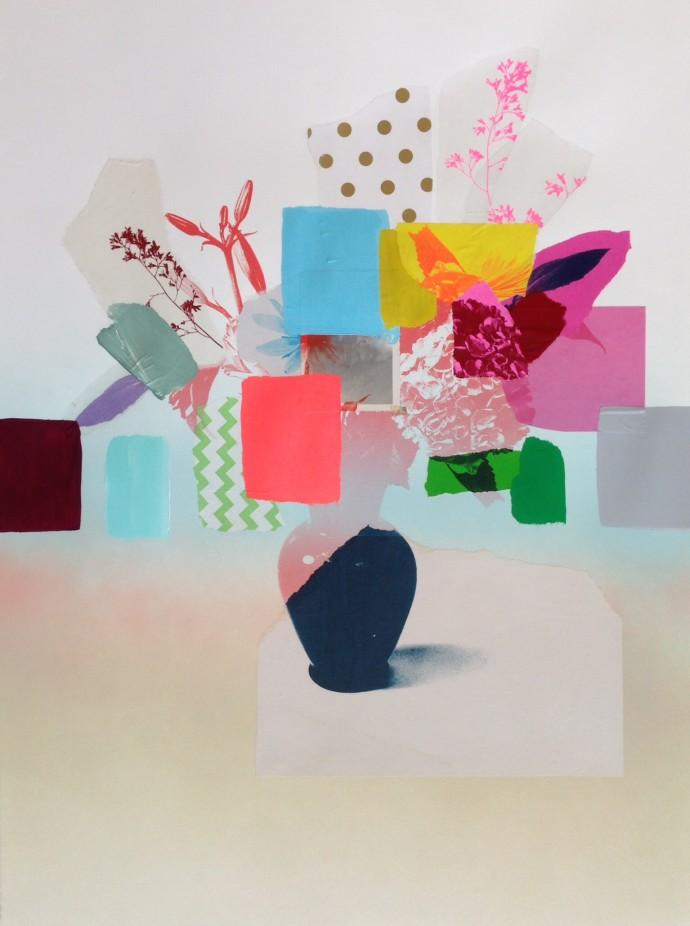 Emily Filler, Paper Bouquet (navy blue vase), 2017
