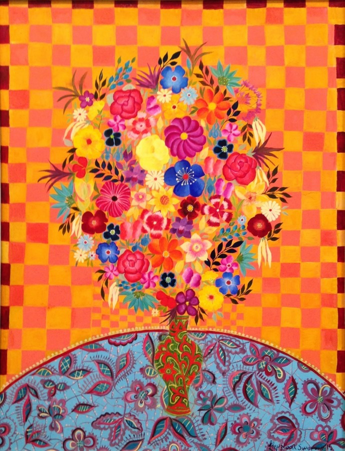<div class=&#34;artist&#34;><strong>Hepzibah Swinford</strong></div><div class=&#34;title&#34;><em>Mexican Flowers</em>, 2015</div><div class=&#34;medium&#34;>oil on board</div><div class=&#34;dimensions&#34;>60 x 54 cm<br>23 5/8 x 21 1/4 in</div>