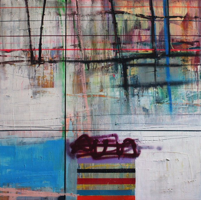 <div class=&#34;artist&#34;><strong>Morten Lassen</strong></div><div class=&#34;title&#34;><em>Interference J</em>, 2016</div><div class=&#34;medium&#34;>oil and spray on linen</div><div class=&#34;dimensions&#34;>90 x 90 cm<br>35 3/8 x 35 3/8 in</div>
