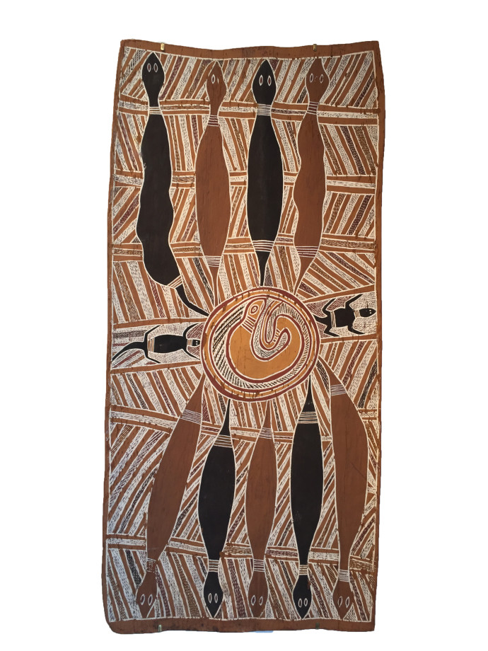 <div class=&#34;artist&#34;><strong>Tunbiala</strong></div> Yirrkala<div class=&#34;title&#34;><em>Snakes at Trial Bay</em>, 1965</div><div class=&#34;medium&#34;>natural earth pigments on bark</div><div class=&#34;dimensions&#34;>53 x 107 cm (dimensions variable)<br>20 7/8 x 42 1/8 in</div>