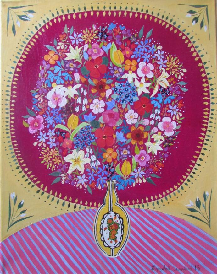 Hepzibah Swinford, Flowers In Art Deco Vase, 2015