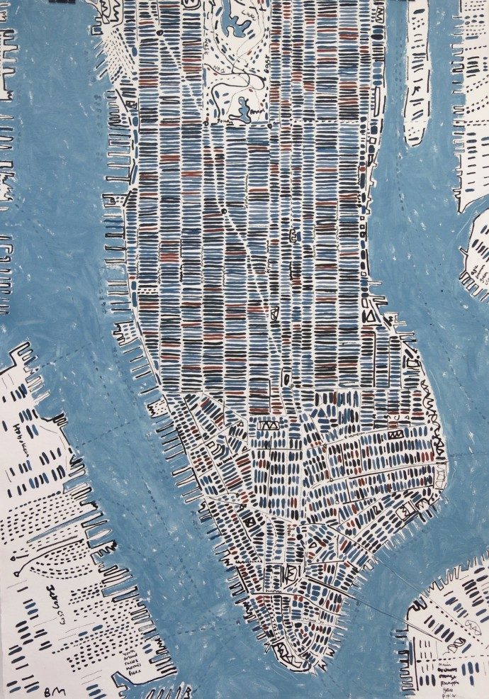 <div class=&#34;artist&#34;><strong>Barbara Macfarlane</strong></div><div class=&#34;title&#34;><em>Blue Slate and Rust Manhattan</em>, 2016</div><div class=&#34;medium&#34;>ink and oil on Khadi paper</div><div class=&#34;dimensions&#34;>138 x 97 cm<br>54 3/8 x 38 1/4 in</div>