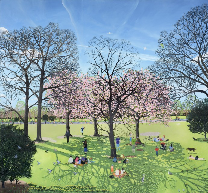<span class=&#34;title_and_year&#34;><em>Under The Cherry Blossom</em>, 2015<span class=&#34;title_and_year_comma&#34;>, </span></span><span class=&#34;medium&#34;>oil on linen<span class=&#34;medium_comma&#34;>, </span></span><span class=&#34;dimensions&#34;>130 x 120 cm<br/>51 1/8 x 47 1/4 in</span>