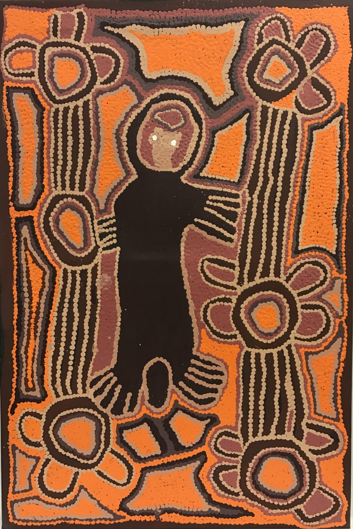 Linda Syddick Napaltjarri, E.T. with a Broken Arm After Drinking 2 Cans of Beer, 2001
