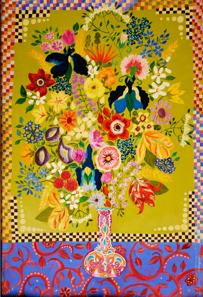 <div class=&#34;artist&#34;><strong>Hepzibah Swinford</strong></div><div class=&#34;title&#34;><em>Flowers in a Moroccan Vase</em>, 2014</div><div class=&#34;medium&#34;>oil on board</div><div class=&#34;dimensions&#34;>44 x 32 cm</div>