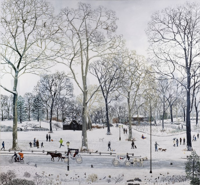 <span class=&#34;title_and_year&#34;><em>Central Park Snow</em>, 2016<span class=&#34;title_and_year_comma&#34;>, </span></span><span class=&#34;medium&#34;>oil on linen<span class=&#34;medium_comma&#34;>, </span></span><span class=&#34;dimensions&#34;>160 x 150 cm<br/>63 x 59 1/8 in</span>