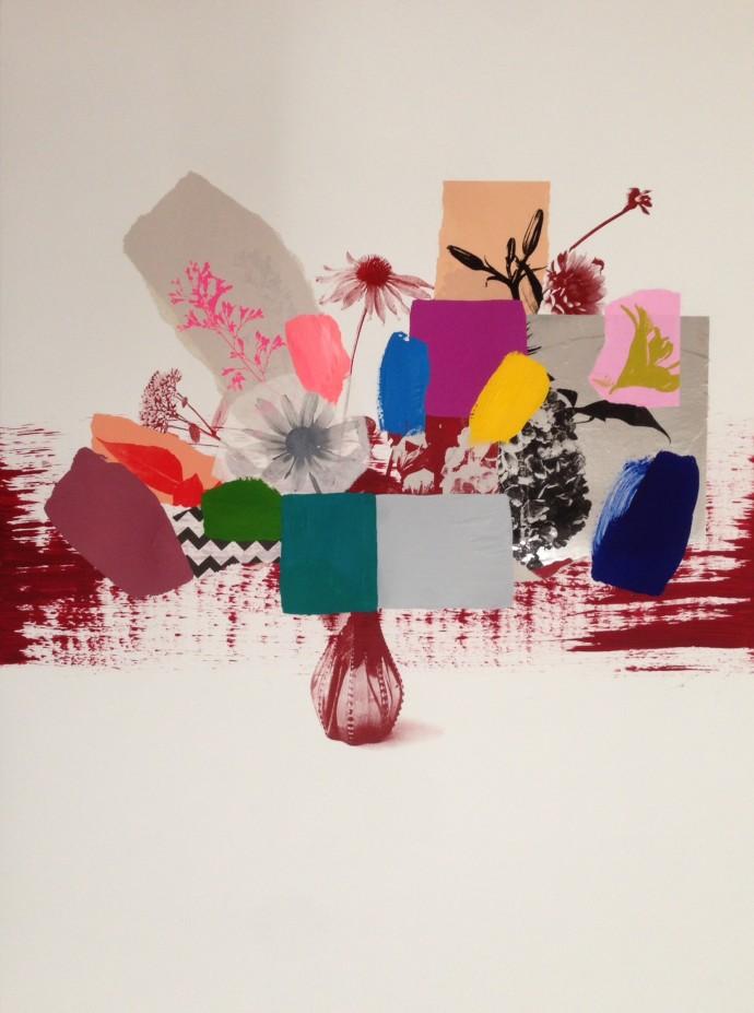 Emily Filler, Paper Bouquet (scarlet vase), 2017