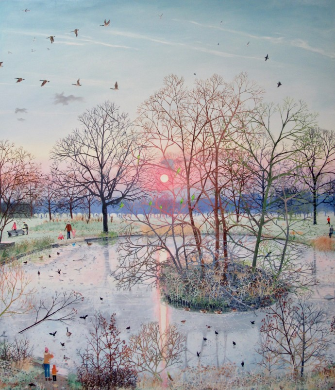 Emma Haworth, Sunset Over Frozen Park, 2017
