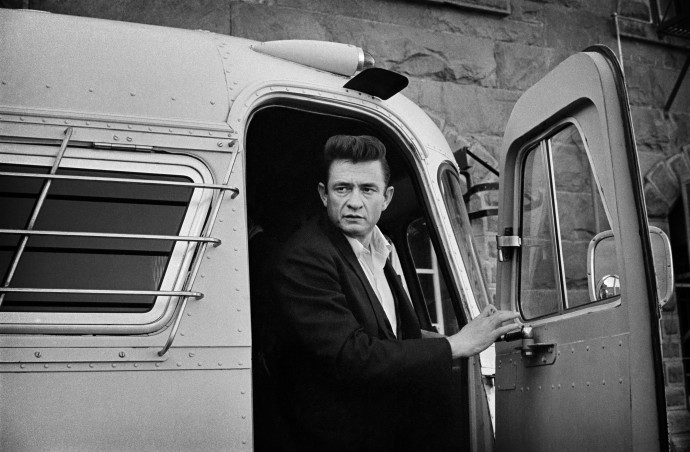 Jim Marshall, Johnny Cash coming off the bus at Folsom Prison, 1968