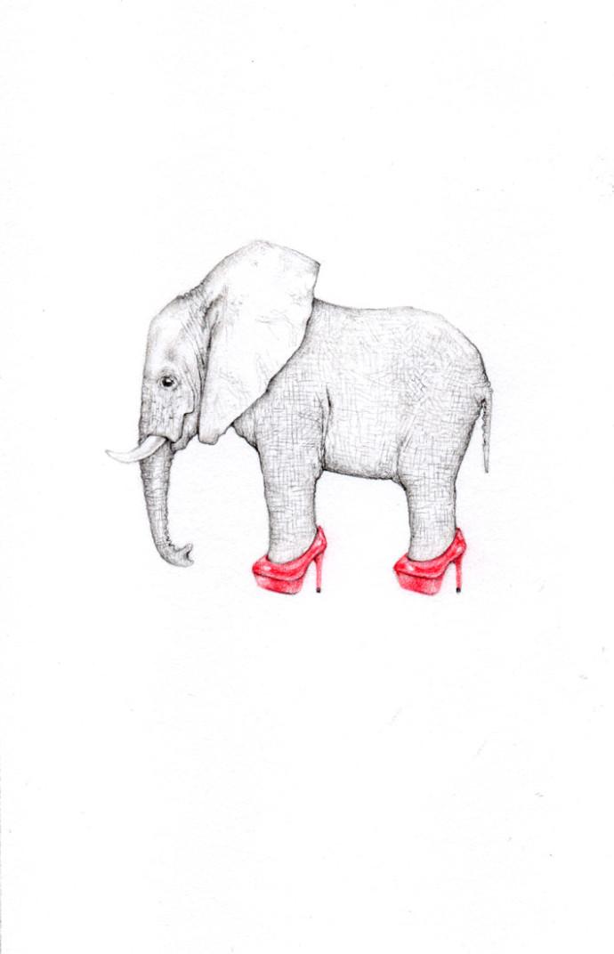 Jackie Case, My Tiny Elephant Wearing Ruby Red Stilettos In The Room, 2017