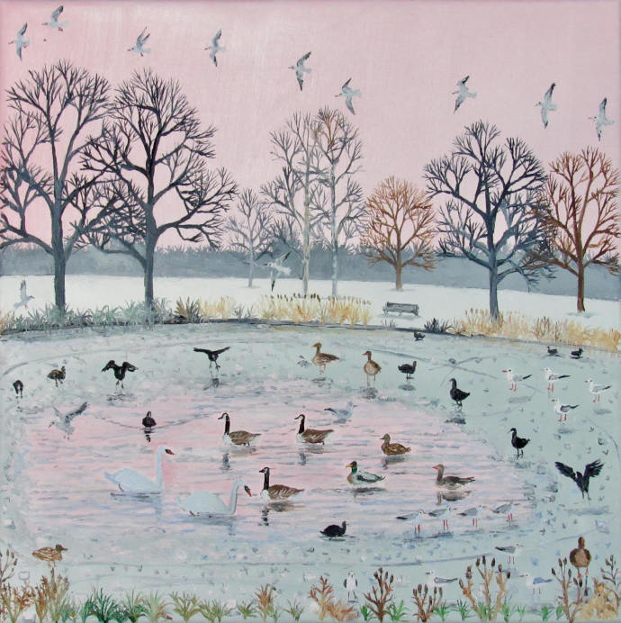 Emma Haworth, Pink sky and seagulls, 2017