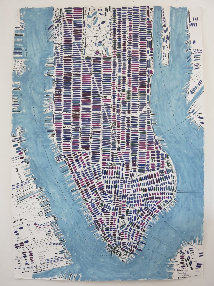 <span class=&#34;title_and_year&#34;><em>Blueberry Manhattan</em>, 2015<span class=&#34;title_and_year_comma&#34;>, </span></span><span class=&#34;medium&#34;>ink and oil on handmade paper<span class=&#34;medium_comma&#34;>, </span></span><span class=&#34;dimensions&#34;>138 x 98 cm<br/>54 3/8 x 38 5/8 in</span>