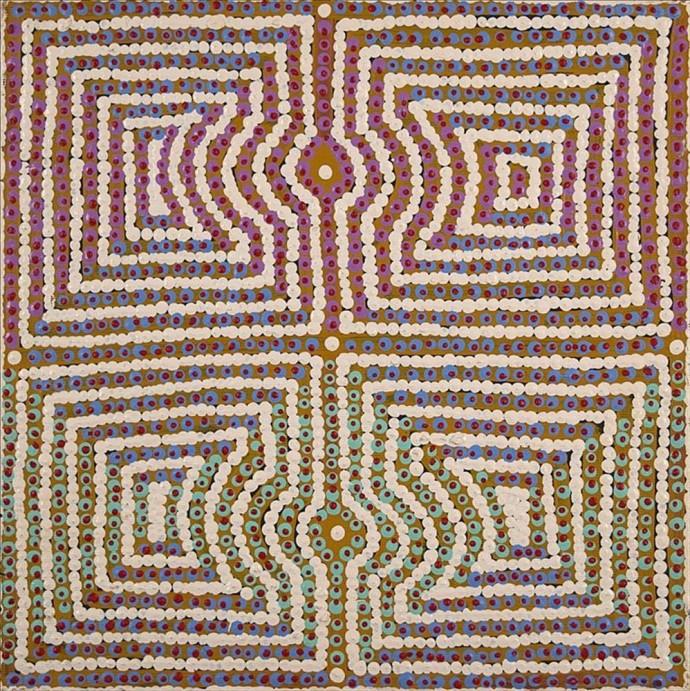 Gloria Napangardi Gill, Lukarrara Jukurrpa (Desert Fringe-rush Seed Dreaming)