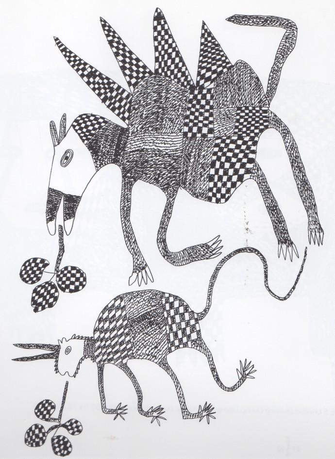 Mathias Kauage, Imaginary Creatures, '70