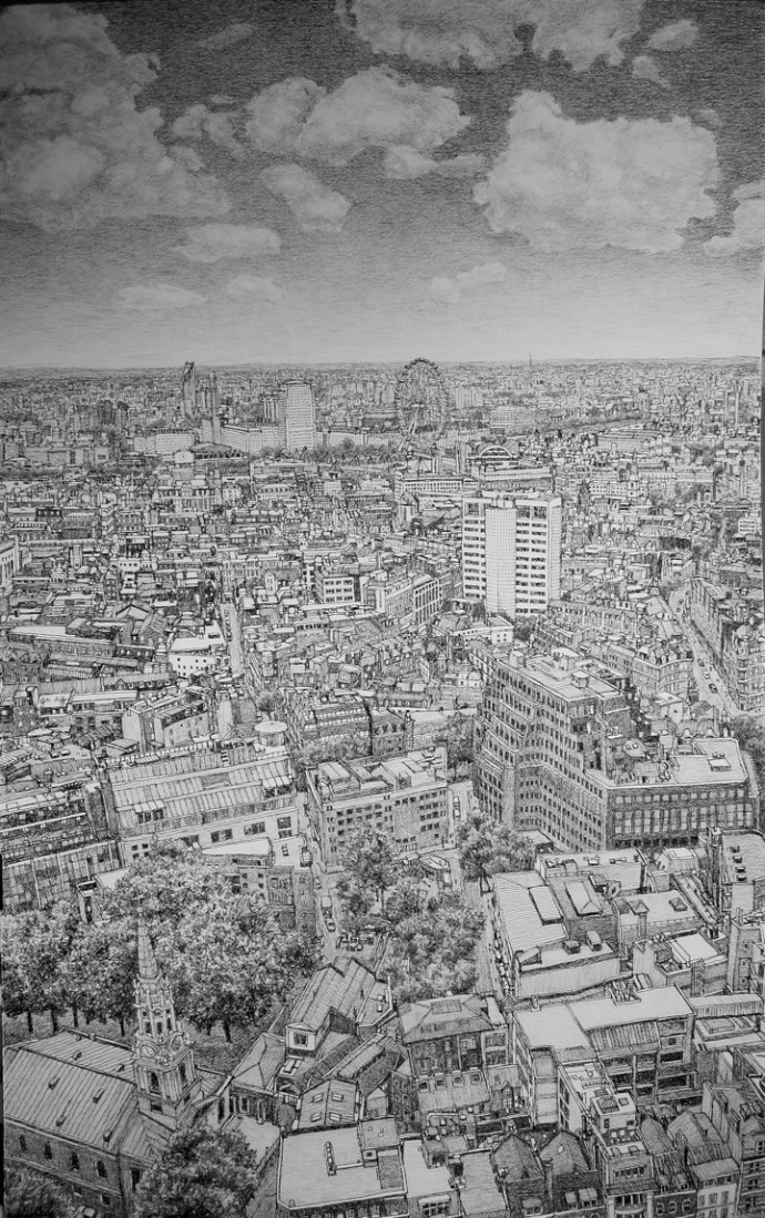 <div class=&#34;artist&#34;><strong>Roy Wright</strong></div><div class=&#34;title&#34;><em>London Eye from Centrepoint</em>, 2015</div><div class=&#34;medium&#34;>charcoal on paper</div><div class=&#34;dimensions&#34;>114 x 168 cm<br>44 7/8 x 66 1/8 in</div>