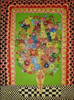 Hepzibah Swinford, Flowers on a Checked Table, 2011