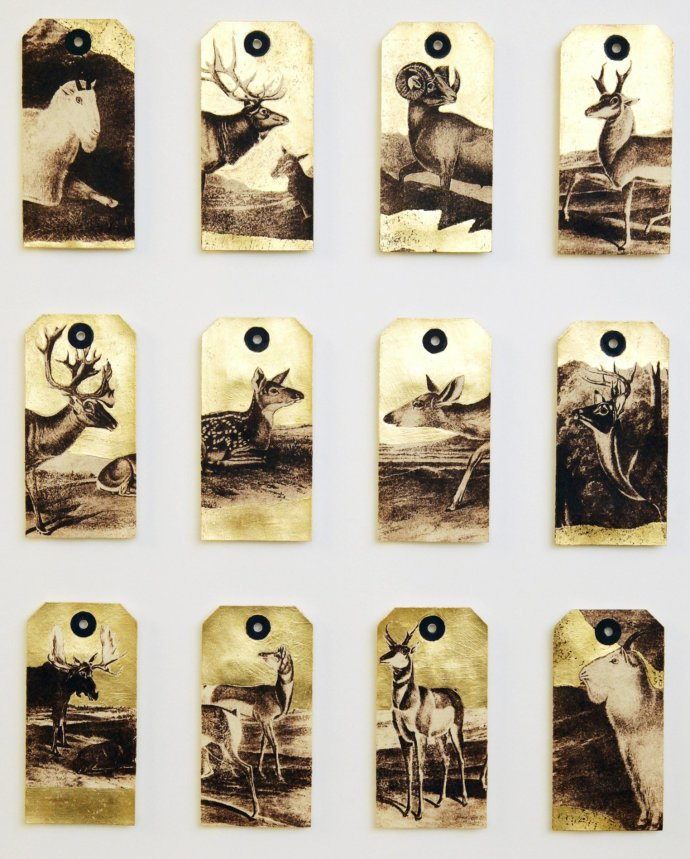<span class=&#34;title_and_year&#34;><em>Deer After Audubon</em>, 2013<span class=&#34;title_and_year_comma&#34;>, </span></span><span class=&#34;medium&#34;>hand printed feathers, printed labels and gold leaf<span class=&#34;medium_comma&#34;>, </span></span><span class=&#34;dimensions&#34;>65 x 57 cm<br/>25 1/2 x 22 1/2 in</span>