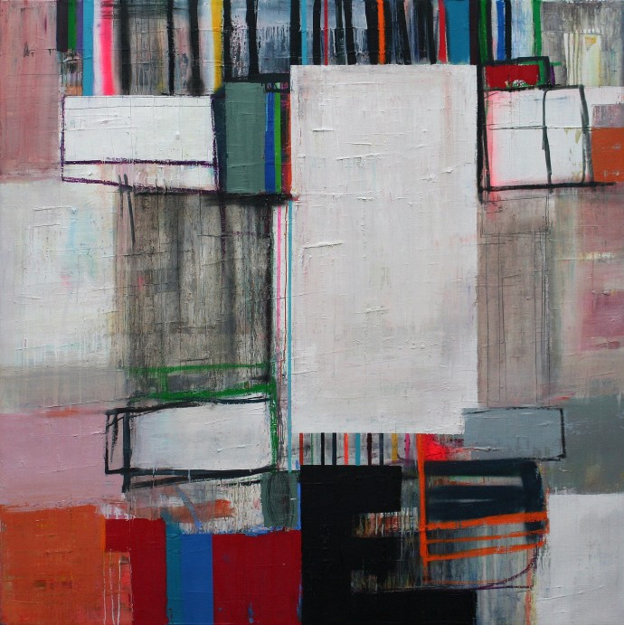 <span class=&#34;title_and_year&#34;><em>Surrounded X</em>, 2015<span class=&#34;title_and_year_comma&#34;>, </span></span><span class=&#34;medium&#34;>oil and spray paint on linen<span class=&#34;medium_comma&#34;>, </span></span><span class=&#34;dimensions&#34;>150 x 150 cm<br/>59 1/8 x 59 1/8 in</span>