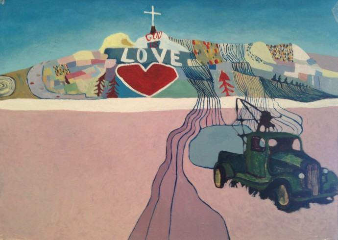 <div class=&#34;artist&#34;><strong>Anastasia Lennon</strong></div><div class=&#34;title&#34;><em>Meet me on Salvation Mountain</em>, 2014</div><div class=&#34;medium&#34;>synthetic polymer paint on canvas</div><div class=&#34;dimensions&#34;>73 x 53.5 cm</div>