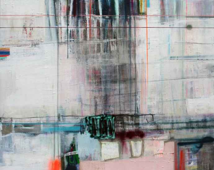 <span class=&#34;title_and_year&#34;><em>Interference F</em>, 2016<span class=&#34;title_and_year_comma&#34;>, </span></span><span class=&#34;medium&#34;>oil and spray on linen<span class=&#34;medium_comma&#34;>, </span></span><span class=&#34;dimensions&#34;>120 x 150 cm<br/>47 1/4 x 59 1/8 in</span>