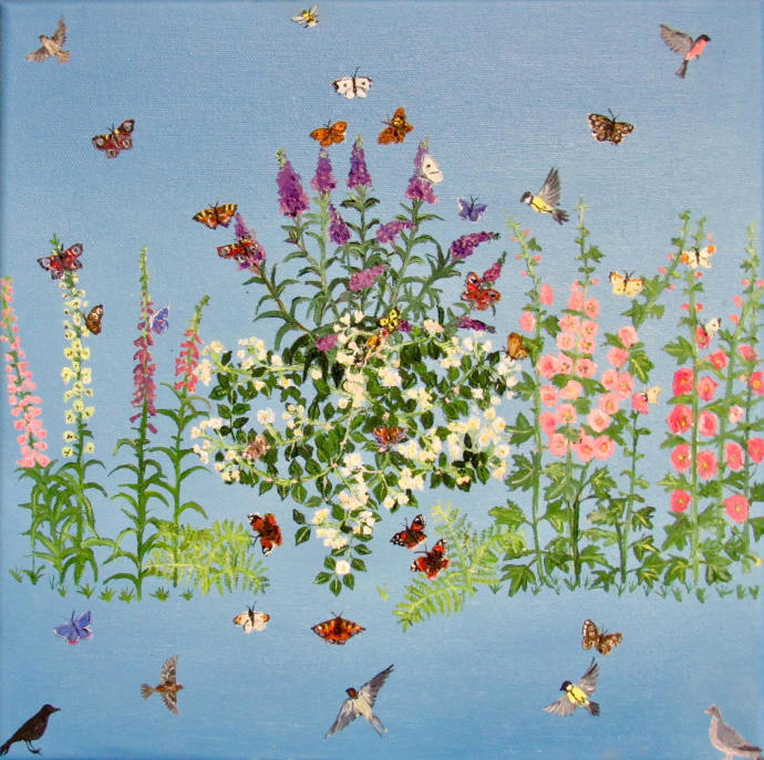 Emma Haworth, Butterflies and foxgloves, 2017