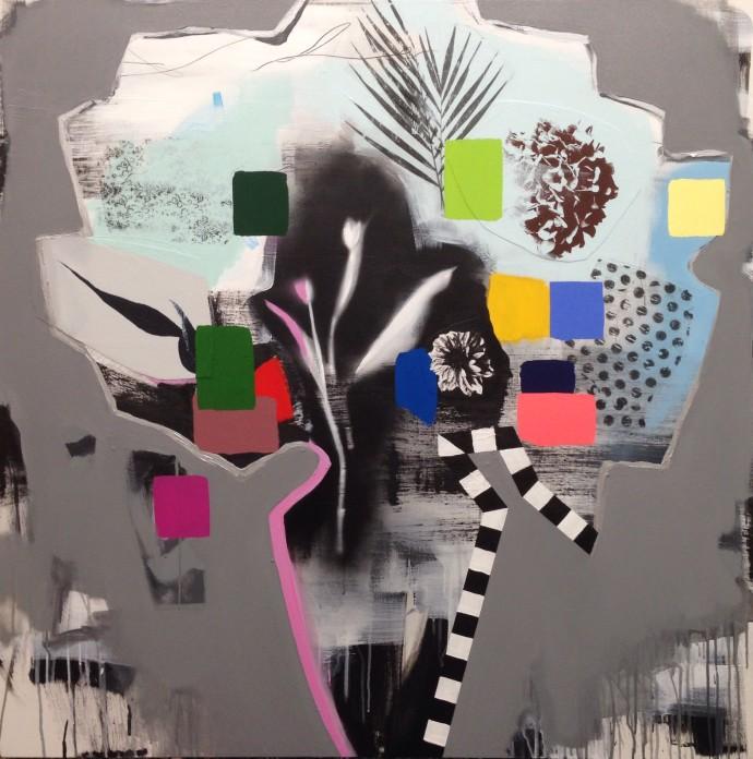 Emily Filler, Bouquet (checkered vase) , 2017