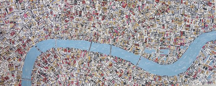 Barbara Macfarlane, London Gold, Pink, Blue Grey, 2017