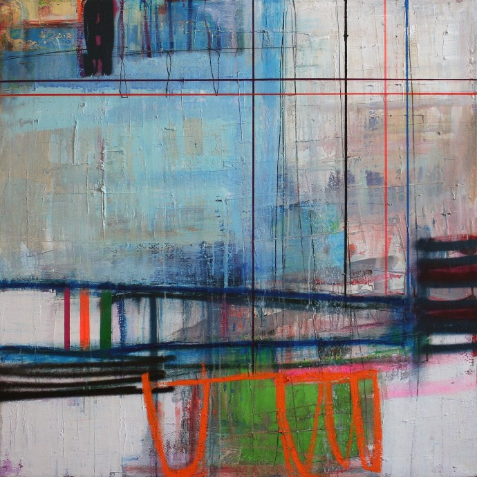 <span class=&#34;title_and_year&#34;><em>Interference I</em>, 2016<span class=&#34;title_and_year_comma&#34;>, </span></span><span class=&#34;medium&#34;>oil and spray on linen<span class=&#34;medium_comma&#34;>, </span></span><span class=&#34;dimensions&#34;>90 x 90 cm<br/>35 3/8 x 35 3/8 in</span>