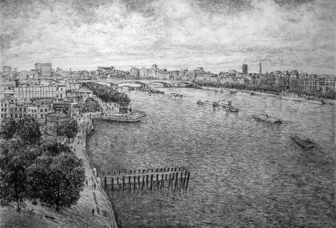 Roy Wright, The Thames from the Oxo Tower, 2014