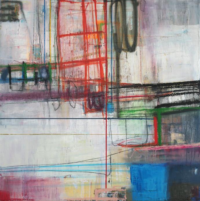 <div class=&#34;artist&#34;><strong>Morten Lassen</strong></div><div class=&#34;title&#34;><em>Integrated L</em>, 2017</div><div class=&#34;medium&#34;>oil and spray paint on linen </div><div class=&#34;dimensions&#34;>90 x 90 cm<br>35 x 35 in</div>