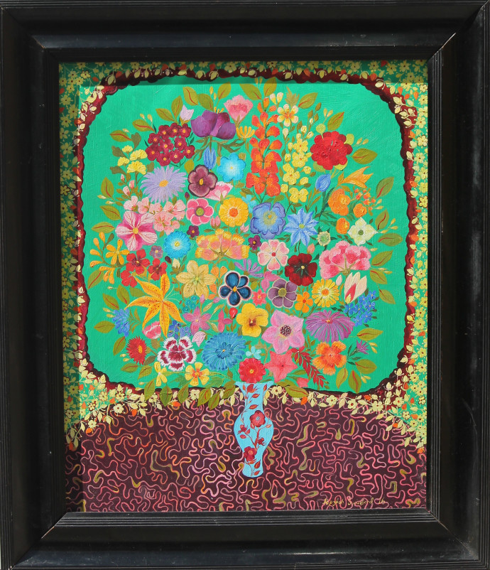 Hepzibah Swinford, Flowers on Green, 2016